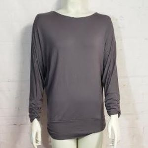 MERCER & MADISON GRAY ROUCHED SLEEVE TOP LARGE